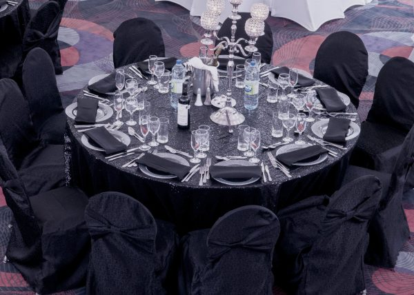 Chair Cover Black - event & wedding decor rental montreal | home staging decor