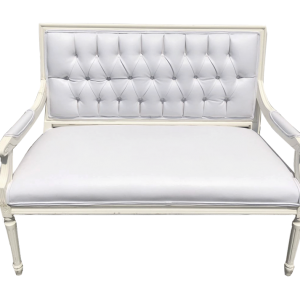 Louis XVI Settee White Chair - event & wedding decor rental montreal